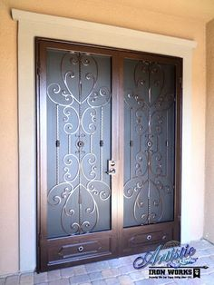 Scrolled Wrought Iron French Security Door