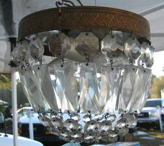*Old crystal chandeliers are fun for yard decor~flea market treasures