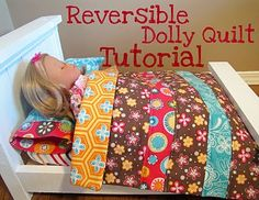From An Igloo: Reversible Dolly Quilt Reversible Dolly Quilt Tutorial (site also has pillow, pillowcase, and fitted sheet tutorial too) Ag Doll Clothes, Doll Clothes Patterns, Doll Patterns, Clothing Patterns, Sewing Dolls, Ag Dolls, Girl Dolls, Doll Crafts, Diy Doll