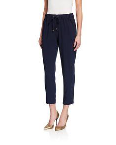 Nanette Lepore Pull-on Drawstring Ankle Joggers In Navy Jogger Pants, Joggers, Cotton Fleece, Nanette Lepore, Skinny Legs, World Of Fashion, Polyester Spandex, Capri Pants, Pajama Pants