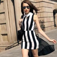 Buy 'SEYLOS – Chiffon Panel Striped Collared Sleeveless Dress' with Free Shipping at YesStyle.co.uk. Browse and shop for thousands of Asian fashion items from China and more!