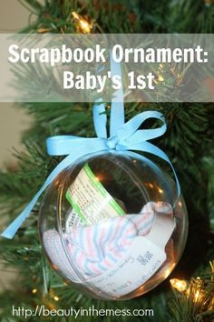 Scrapbook Ornament: Baby's 1st. A great way to use newborn goodies.