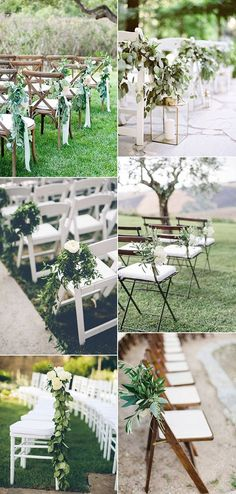 outdoor wedding chair decoration ideas for aisles                                                                                                                                                     More