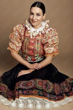 Popular Folk Embroidery The costume of Povazie area in Slovakia is so heavily embroidered that the shirt cloth is barely visible - Bratislava, Costumes Around The World, Folk Embroidery, Floral Embroidery, Embroidery Designs, Bohemian Blouses, Group Costumes, Folk Costume, Textiles