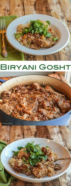 Biryani Gosht: Moghul style Biryani traditionally made with goat, lamb or mutton, but it can be made with any red meat and is perfect for a celebration dinner!