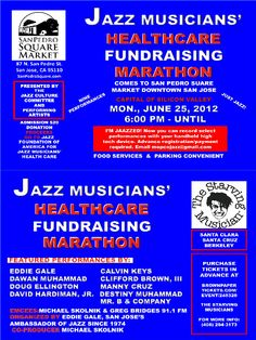 Join us for the Jazz Musicians' Healthcare Fundraising Marathon on Monday, June 25, 2012 and 6pm. This event is presented by the Jazz Culture Committee and Performing Artists. $20 admission donation and all proceeds will go to the Jazz Foundation of America for Jazz Musicians' Health Care. Featured performances include Edwin Gale, Dawan Muhammad, Doug Ellington, David Hardiman Jr., Calvin Keys, Clifford Brown III, Manny Cruz, Destiny Muhammad, and Mr. B & Company. Are you jazzed?!