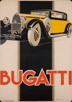 Bugatti, 1930 superb French Art Deco poster by Rene Vincent. Those cars were featured on a lot of them, I guess because it was the common type of car. Art Deco Posters, Car Posters, Retro Poster, Vintage Posters, Modern Posters, Classic Sports Cars, Classic Cars, Carros Vintage, Pub Vintage