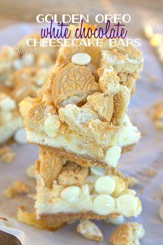 Golden Oreo White Chocolate Cheesecake Bars on MyRecipeMagic.com