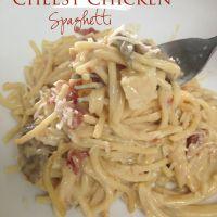 Crockpot Chicken Spaghetti with Velveeta - Reasons To Skip The Housework