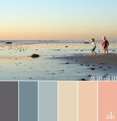 a beach-sunset-inspired color palette // gray, sand, peach
