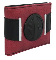 This Deadpool wallet recreates Deadpool's costumed waist with metal buckle, carefully stitched appliques, and a resilient, red, and lightly perforated material. Deadpool Outfit, Deadpool Costume, Deadpool Wallet, Deadpool And Spiderman, Marvel Memes, Metal Buckles, Badge, Costumes, Superhero