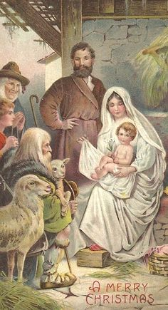 Reprint of a vintage Christmas postcard Christmas Nativity Scene, Christmas Past, A Christmas Story, Christmas Pictures, Christmas Greetings, Nativity Scenes, Vintage Christmas Cards, Vintage Cards, Vintage Postcards