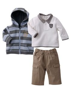 £29  Baby Boy Cardigan, polo shirt & trousers outfit BEIGE DARK SOLID