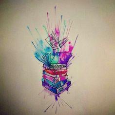 Watercolor book color acuarela libros tatuaje draw dibujo