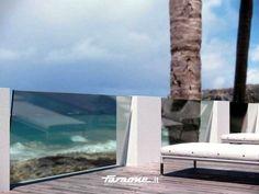 Glass and aluminium balustrade NINFA SLOPING - FARAONE