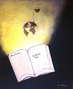 """""""Descubrimiento"""", óleo,  50 x 60, 1999. #arte #art #artesvisuales #pintura #oleo #descubrimiento #libro #conocimiento #universos"""