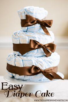 Easy Diaper Cake Tutorial from The Happier Homemaker