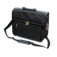 Teczka trzykomorowa PUCCINI CM35007 czarna, z miejscem na laptopa