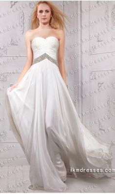 Flowing sparkly sweetheart ruched bodice floor length evening dress White Dresses - IkmDresses.com
