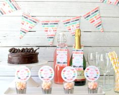 free mother's day party printables (includes cupcake toppers, bottle hangers and M-O-M banner)