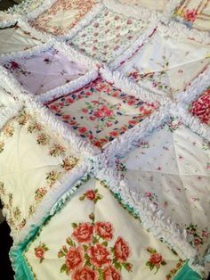 Here is a Vintage Handkerchief Rag Quilt. Each one of my hanky quilts are one of a kind, different and special. I think This one is the nice...