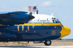 """Blue Angels C-130 Hercules """"Fat Albert"""" taxis prior to demo during the 2010 Cleveland National Air Show"""
