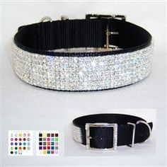 Custom Star Diamonds BLING 1 1/2 inch Wide Solid Crystal Jeweled Dog Collar