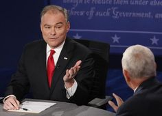 Democratic candidate for Vice President Tim Kaine (L) exchanges with Republican candidate for Vice President Mike Pence during the first vice presidential debate at Longwood University in Farmville, Virginia on October 4, 2016. Hillary Clinton and Donald Trump's running mates carry the race for the White House Tuesday, in their only debate of the campaign with the US elections five weeks away. / AFP PHOTO / POOL / ANDREW GOMBERTANDREW GOMBERT/AFP/Getty Images