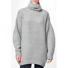 --evaChic--This Acne Studios Isa Ribbed Wool Turtleneck Sweater can also be adopted as a mini dress to be layered above leggings. Relaxed fit makes it ideal for layering. The thick ribbed knit gives it a sporty feel. The roomy long sleeves are comfy and on-trend. This is your go-to luxe winter wardrobe basic and a cool neutral piece.           http://www.evachic.com/product/acne-studios-isa-ribbed-wool-turtleneck-sweater/