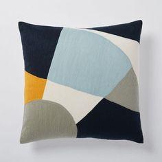 Crewel Pinwheel Pillow Cover - Seaglass Blue | west elm