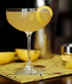 Decepticon Cocktail: gin (Old Tom), mezcal, maraschino liqueur, lemon juice, lemon twist   10th Kitchen