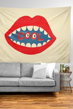 Buy Tapestry with Cool Mouth designed by Nick Nelson. One of many amazing home décor accessories items available at Deny Designs. Dorm Room Art, Home Decor Accessories, Home Goods, Bed Pillows, Pillow Cases, Bedrooms, Tapestry, House Design, Living Room