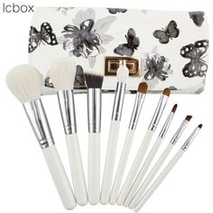 22.99$  Buy here - http://alixqw.shopchina.info/1/go.php?t=32516333848 - LCBOX 9Pcs Eyeshadow Blush Concealer Eyebrow Foundation Blending Makeup Brushes with Butterfly Flower PVC Pouch Makeup Kit  #magazineonlinebeautiful