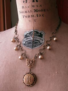 """Upcycled Button Necklace - Vintage Fancy Initial """"H"""" Coat Button Vintage Inspired Pearl Necklace"""