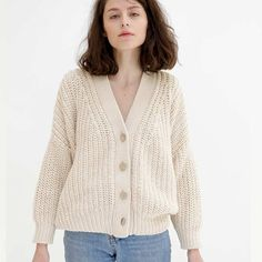 Cardigan No18 is robust yet soft and full of personality. Its weight allows the knit to hang just so, while the ribbed hem helps retain its shape.