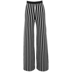 'One Love' Black & White Bandage Wide Leg Trousers - Mistress Rocks (300 RON) ❤ liked on Polyvore featuring pants, high-waist trousers, stripe pants, high-waisted pants, high-waisted trousers and high-waisted wide leg pants