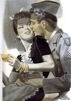 """""""Lovely llustration of WWII soldier and his girl, ca. A Fine Romance, Vintage Romance, Vintage Love, Vintage Art, Couples Vintage, Vintage Ladies, Divas, Family Illustration, Wow Art"""