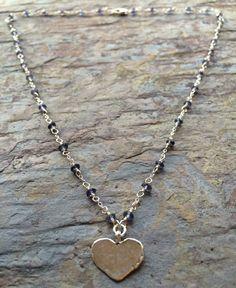 Iolite piedras preciosas plata collar con un encanto del corazón