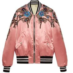 Gucci Sequin Embroidered Acetate Bomber (£4,280) ❤ liked on Polyvore featuring outerwear, jackets, tops, pink, pink flight jacket, bomber style jacket, floral print bomber jacket, red sequin jacket and pink bomber jacket