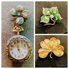 Vintage shamrock brooches and pendant watch in the Estate Jewelry Cabinet at Secrete Fine Jewelry in Washington, DC, and Bethesda, MD.   #shamrock #finejewelry #vintage #watch #brooch