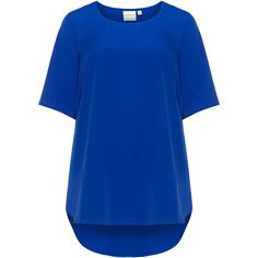 Junarose Blue Plus Size Dipped hem top (2.310 RUB) via Polyvore featuring tops, blue, plus size, drapey top, crew top, elbow length tops, elbow length sleeve tops и women's plus size tops