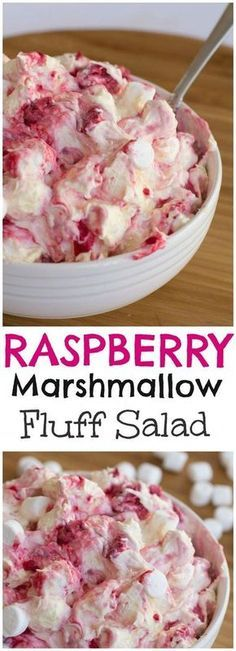 This raspberry marshmallow fluff salad is so light and fluffy. A delicious mixture of raspberries, cool whip, pudding, yogurt and marshmallows. Fluff Desserts, Köstliche Desserts, Delicious Desserts, Yummy Food, Health Desserts, Yummy Snacks, Dessert Salads, Fruit Salad Recipes, Jello Salads