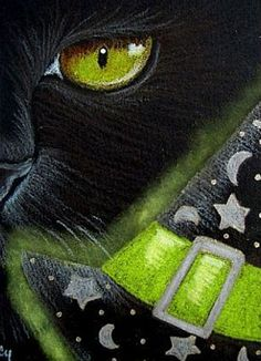 "Cat Art... =^. ^=... ❤... ""Black Cat - Halloween"" By Artist Cyra R. Cancel..."