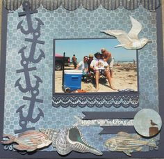 Hangin Out! - Scrapbook.com -- use BG Vagabond striped paper. #vacationscrapbook #weddingscrapbooks #scrapbooking101
