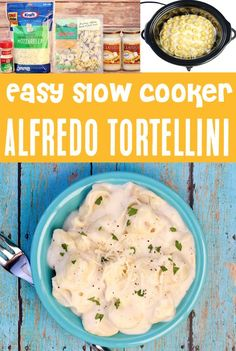 Alfredo Tortellini Recipes: Easy Crockpot Recipe! Craving comfort food tonight? You've just stumbled across the dreamiest dinner that is so EASY to make! Go grab the recipe and give it a try this week!