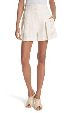 Rebecca Taylor Textured Stripe Shorts In Creme Brulee Pleated Shorts, Striped Shorts, Rebecca Taylor, Mini Skirts, Feminine, Nordstrom, Clothes, Shopping, Dresses