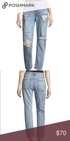 """Free People Distressed Mid-Rise Blue Jeans Woven cotton-blend jean. Mid-size. Belt loops. Curved and coin pockets. Back slip pockets. Tonal topstitching and panel seaming. Button front closure with zip fly. Rise 12"""" Inseam 22"""" Free People Jeans Straight Leg"""