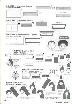 tutorial on origami type dolls Gato Origami, Origami And Quilling, Origami And Kirigami, Paper Crafts Origami, Diy Paper, Paper Art, Oragami, Japanese Origami, Japanese Paper