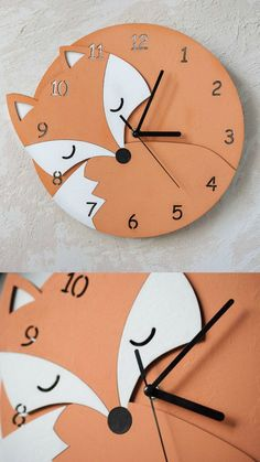 This cute sleeping fox will be a good friend for your child:) This wooden clock is made with use of laser cutting; Assembled and painted by hand. #ad #Etsy #fox