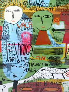 Milo Lockett La Art, Face Expressions, Arte Pop, Outsider Art, Mixed Media Collage, Art Journal Pages, Amazing Art, Contemporary Art, How To Draw Hands